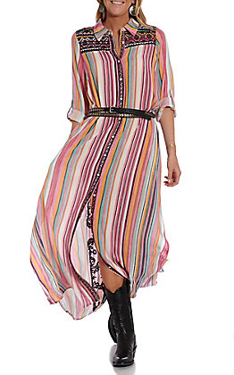 April Sky Women's Multi Print Embroidered Long Sleeve Duster / Dress