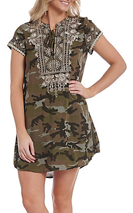 April Sky Women's Camo with Floral Embroidery Short Sleeve Dress