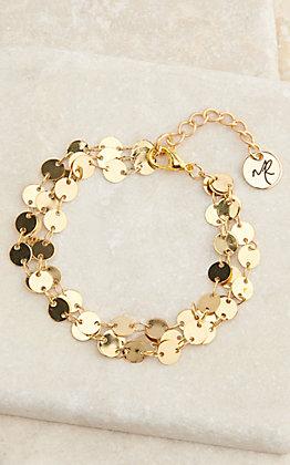 Laminin Gold 3 Strand Coin Bracelet