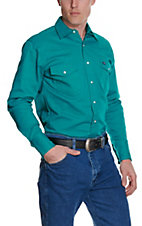 Wrangler Turquoise Advanced Comfort Long Sleeve Workshirt MACW02G- Alpha Sizes