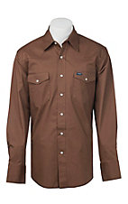 Wrangler Brown Advanced Comfort Long Sleeve Workshirt MACW04E- Alpha Sizes