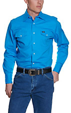 Wrangler Blue Advanced Comfort Long Sleeve Workshirt MACW05B- Alpha Sizes