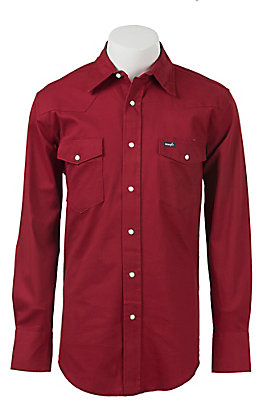 27eaaeb2 Wrangler Red Advanced Comfort Long Sleeve Workshirt MACW06R- Alpha Sizes