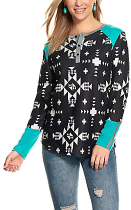 Crazy Train Women's Black and Turquoise Waffle Knit Long Sleeve Henley Top