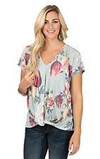 James C Women's Mint Floral with Roll Over Knot Hem Fashion Shirt
