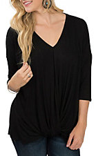 James C Women's Black Roll Over Knot Casual Knit Shirt
