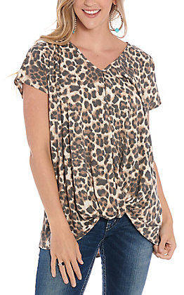 James C Women's & And Brown Leopard Print Fashion Top