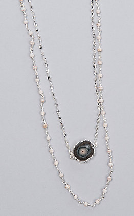 Laminin Magnolia Double Layer Howlite Rosary Nechlace