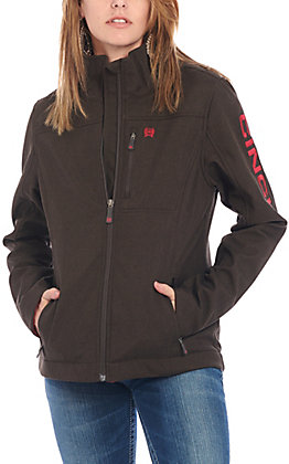 Cinch Women's Brown with Pink Logo Concealed Carry Softshell Jacket