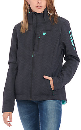 Cinch Women's Grey Aztec with Turquoise Logo Concealed Carry Softshell Jacket