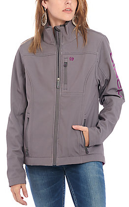 Cinch Women's Grey Bonded with Purple Logo Concealed Carry Pocket Jacket