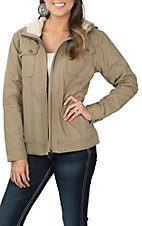 Cinch Women's Beige Canvas Hooded Jacket