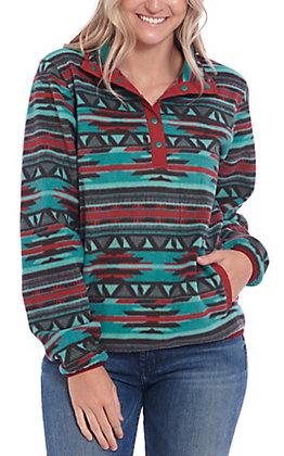 Cinch Women's Teal Aztec Print Fleece Pull Over Jacket