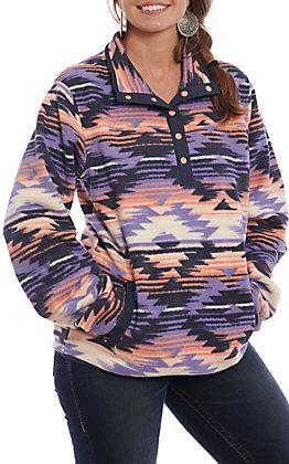 Cinch Women's Cavender's Exclusive Purple Aztec Print Fleece Pullover