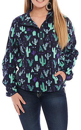 Cinch Women's Navy Cactus Print Fleece Cavender's Exclusive Henley Pullover Jacket