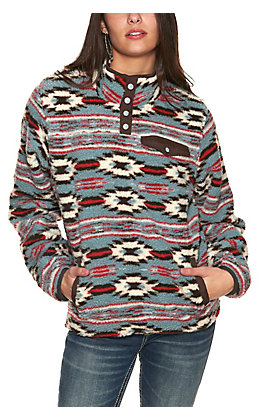 Cinch Women's Light Blue, White & Red Aztec Print Fleece Long Sleeve Pullover Jacket