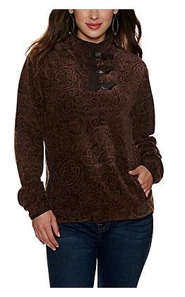 Cinch Women's Brown Paisley Fleece Pullover