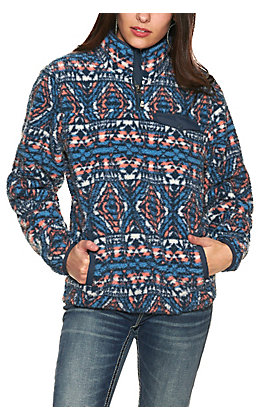 Cinch Women's Blue, White & Coral Aztec Print Fleece Long Sleeve Pullover Jacket