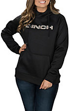 Cinch Women's Black Fleece Pullover Raglan Hooded Sweatshirt