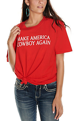 Women's Red with White Make America Cowboy Again Short Sleeve T-Shirt