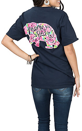 Girlie Girl Originals Navy Floral Mama Bear S/S T-Shirt