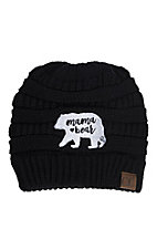 C.C. Beanies Women's Mama Bear Black Ribbed Knit Beanie
