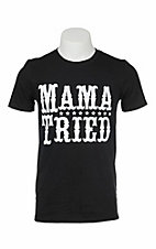 Southern Moonshine Men's Black with White Mama Tried Screen Print Short Sleeve T-Shirt