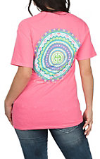 Girlie Girl Originals women's Neon Pink Mandala S/S T-Shirt