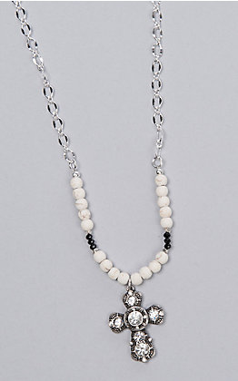 Laminin Margaret White Howlite Beads on Silver Plated Chain Necklace