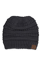 C.C. Beanies Women's Messy Bun Dark Green Ribbed Knit Beanie
