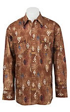 Wrangler Men's L/S Brown Checotah Print Western Shirt
