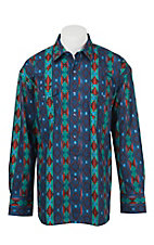 Wrangler Men's L/S Red, Blue, and Turquoise Checotah Print Western Shirt