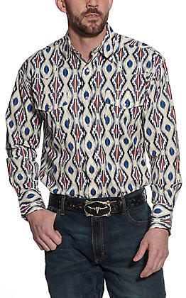 Wrangler Men's Checotah Blue & Red Aztec Print Long Sleeve Western Shirt