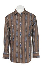 Wrangler Men's Brown Checotah Print L/S Western Snap Shirt