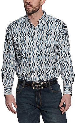 Wrangler Men's Checotah Blue & White Aztec Print Long Sleeve Western Shirt