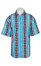 Wrangler Men's Blue and Red Checotah Aztec Print S/S Western Snap Shirt