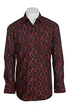 Wrangler Men's Black and Red Checotah Aztec Print L/S Western Snap Shirt