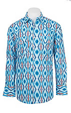 Wrangler Men's Blue Checotah Print Long Sleeve Western Shirt
