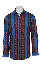 Wrangler Men's Blue and Red Checotah Print Long Sleeve Western Snap Shirt