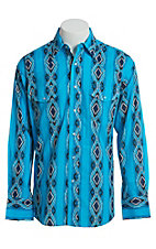 Wrangler Men's Blue Checotah Print Long Sleeve Western Snap Shirt