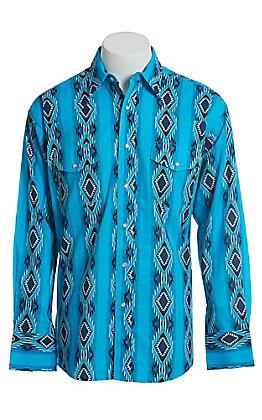 Wrangler Men's Blue Checotah Print Long Sleeve Western Snap Shirt