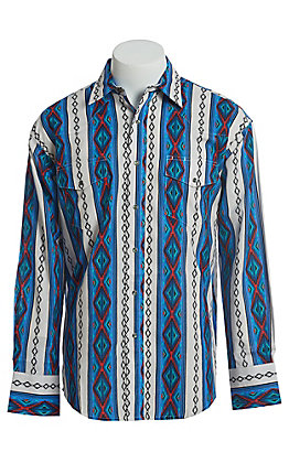 Wrangler Men's White With Turquoise, Red, Blue And Black Checotah Print Long Sleeve Western Snap Shirt