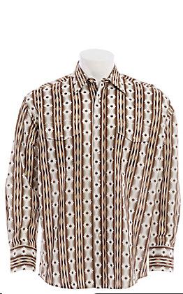 Wrangler Men's Tan Checotah Aztec Print Long Sleeve Western Shirt
