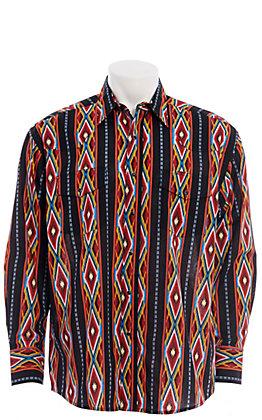 Wrangler Men's Black Checotah Aztec Print Long Sleeve Western Snap Shirt