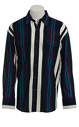 Wrangler Checotah Men's Color Block Stripe Long Sleeve Western Shirt