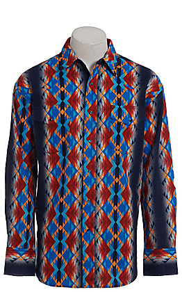 Wrangler Checotah Men's Aztec Print Long Sleeve Western Shirt