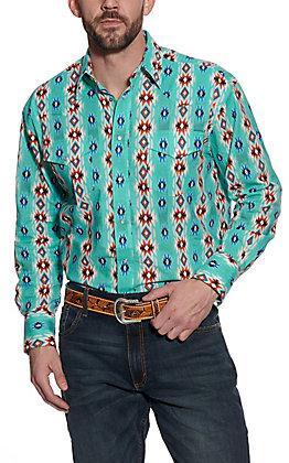 Wrangler Men's Checotah Turquoise Aztec Print Long Sleeve Western Shirt