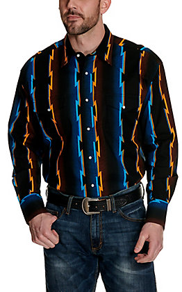 Wrangler Men's Checotah Black with Multi Aztec Print Long Sleeve Western Shirt