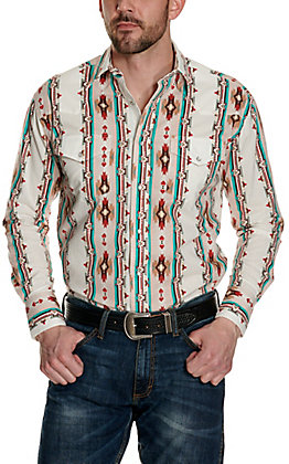 Wrangler Men's Checotah Tan Aztec Print Long Sleeve Western Shirt