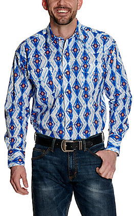 Wrangler Men's Checotah Blue and Orange Aztec Print Long Sleeve Western Shirt